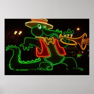 Neon Alligator Poster