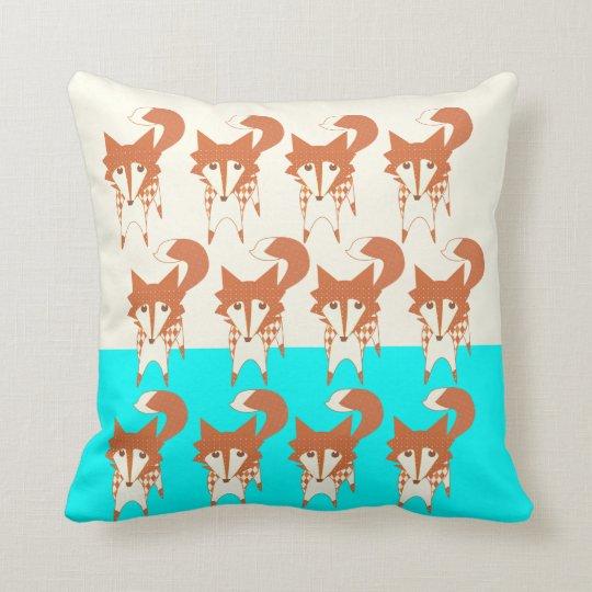 Neon Aqua Monogram Stylized Fox Pillow