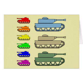 Neon Army Tanks - Pop Art Card