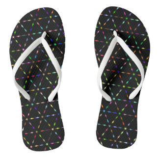 Neon arrows at dark black sky flip flops