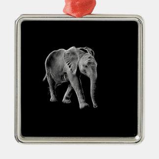 Neon Baby Elephant Metal Ornament