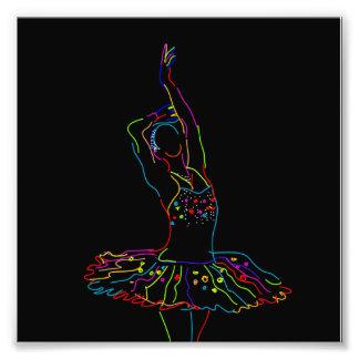 Neon Ballerina Illustration Art Photo