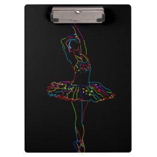 Neon Ballerina Illustration Clipboard