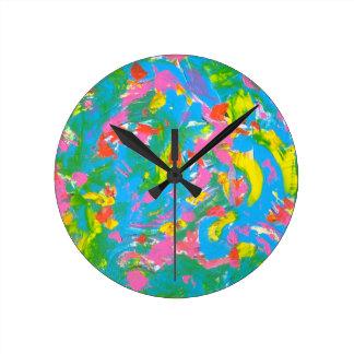 Neon Bloom - Abstract Art Brushstrokes Clocks