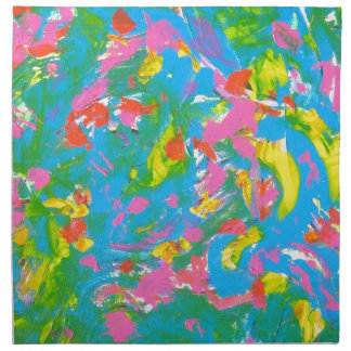 Neon Bloom-Abstract Art Brushstrokes Hand Painted Cloth Napkin