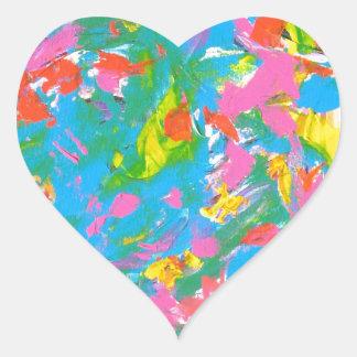 Neon Bloom - Abstract Art Brushstrokes Heart Sticker