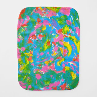 Neon Bloom-Hand Painted Abstract Art Brushstrokes Burp Cloth