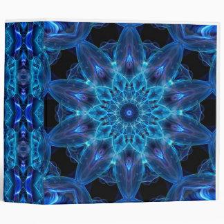 Neon Blue 3D Kaleidoscope Design Binder