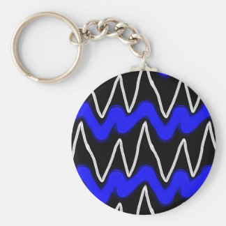Neon Blue and White Finger Paint Zigzag Design Basic Round Button Keychain