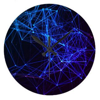 Neon Blue Design Large Clock