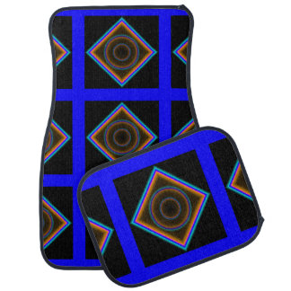 Neon Blue Diamonds Car Floor Mats by Janz Full Set Auto Mat