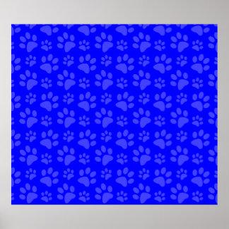 Neon blue dog paw print pattern
