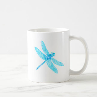 Neon blue dragonfly coffee mug