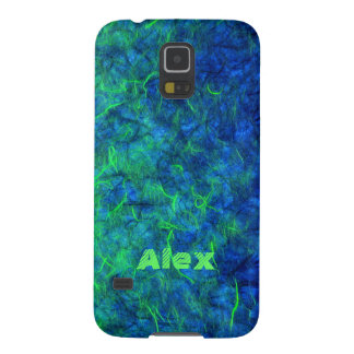 Neon blue green psychedelic Japanese rice paper Galaxy S5 Case