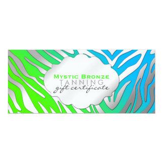 "Neon Blue & Green Zebra Print Gift Certificates 4"" X 9.25"" Invitation Card"