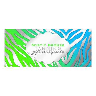 Neon Blue Green Zebra Print Gift Certificates Personalized Invite