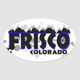 Neon blue grunge Frisco Colorado Oval Sticker