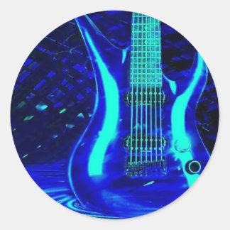 Neon blue guitar classic round sticker