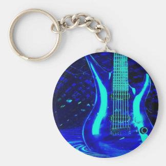 Neon blue guitar keychain