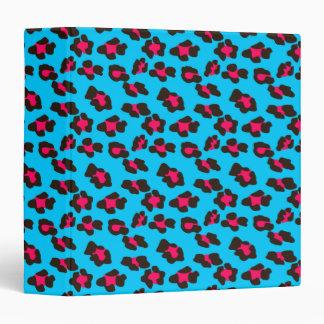 Neon Blue Leopard Print Binder