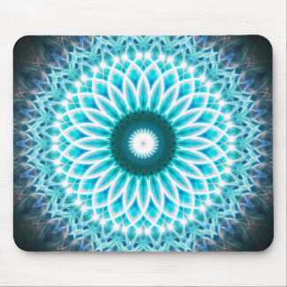 Neon Blue Lotus Mandala Mouse Pad