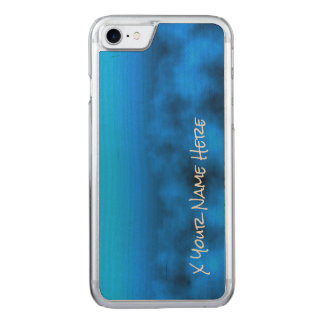 Neon Blue Night Sky With Black Insert Name Carved iPhone 8/7 Case