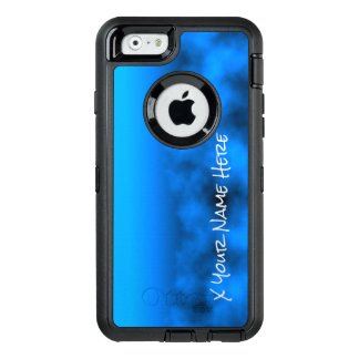 Neon Blue Night Sky With Black Insert Name OtterBox Defender iPhone Case