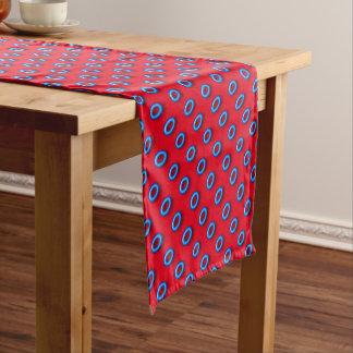Neon Blue On Red Short Table Runner