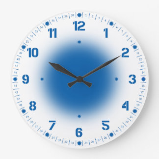 Neon Blue on White Large Clock