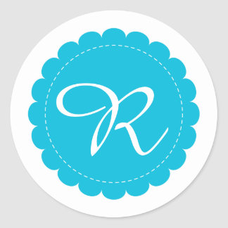 Neon Blue Scalloped Circle Cursive Monogram Classic Round Sticker