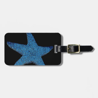 Neon Blue Sea Star Luggage Tag