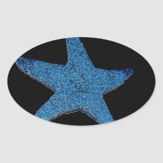 Neon Blue Sea Star Oval Sticker