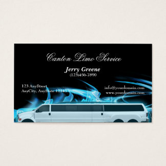 Neon Blue SUV Limousine Business Card