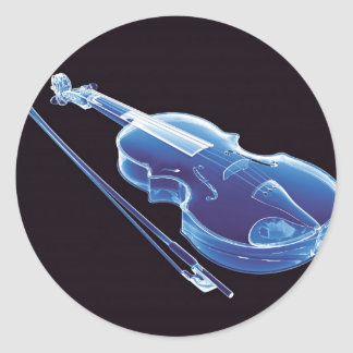 Neon Blue Violin Round Sticker