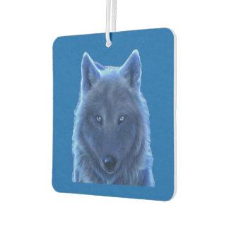 Neon blue wolf air freshener