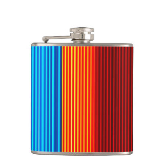 Neon Blue Yellow Red Lines Hip Flask