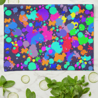 Neon bright colorful paint splatter towel