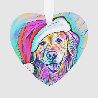 Neon Bright Colors Christmas Golden Retriever Art Ornament