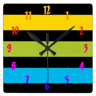 Neon Bright trendy fashion colorful design 4 Square Wall Clock