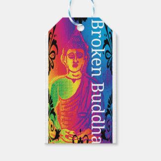 Neon broken buddha gift tags