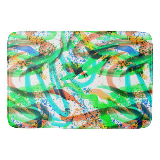 Neon Brushstroke Paint Splatter Blue Green Orange Bath Mat