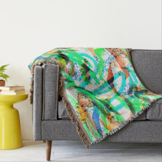 Neon Brushstroke Paint Splatter Green Orange Blue Throw Blanket