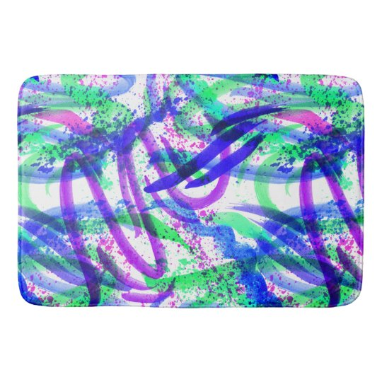Neon Brushstroke Paint Splatter Mint Green Magenta Bathroom Mat
