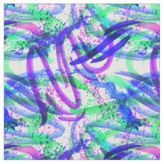 Neon Brushstroke Paint Splatter Mint Green Magenta Fabric