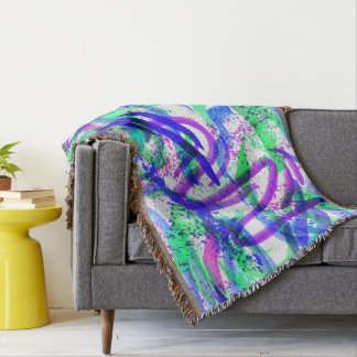 Neon Brushstroke Paint Splatter Mint Green Magenta Throw Blanket