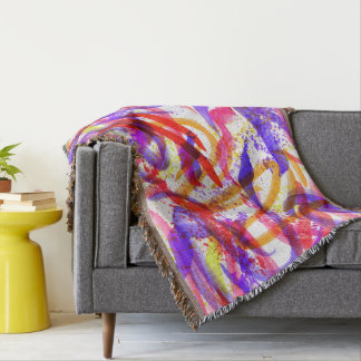 Neon Brushstroke Paint Splatter Pink Purple Orange Throw Blanket