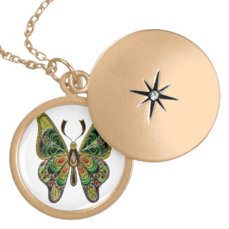 Neon Butterfly Gold Plated Necklace