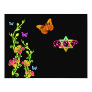 Neon Buttterflies & Flowers Bat Mitzvah RSVP Card