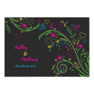 Neon Chalkboard Doodle Wedding Reply Card