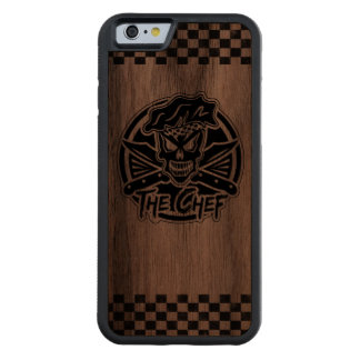 Neon Chef Skull Carved Walnut iPhone 6 Bumper Case
